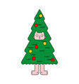 christmas tree costume spruce man inside new year vector image vector image