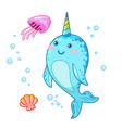 cute cartoon kawaii narwhals with rainbow horn vector image vector image