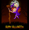 cute little witch holding a broom while giving thu vector image vector image