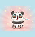 cute panda with flag vector image vector image