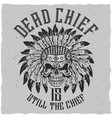 dead chief poster vector image vector image