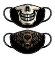 designs protective face mask with bear and skull