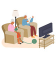 elderly couple watching tv knitting reading vector image vector image