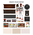 flat cafe interior elements set vector image vector image