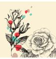 floral greeting card retro hand drawn roses vector image vector image