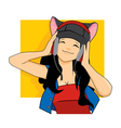Girl Wearing A Cat Hat Listening Music with Head vector image vector image