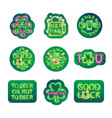 glowing neon patricks signs sticker pack vector image vector image