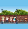 group of children in street vector image vector image