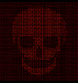 hacking system abstract luminous skull of red vector image