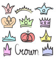 hand drawn color crowns logo and icon design set vector image