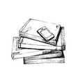 hand drawn stack of books with smart phone vector image