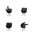 hand gestures drop shadow black icons set vector image vector image