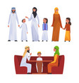 happy arab families in national clothes set vector image vector image