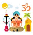 hindu woman with hookah flat style vector image vector image
