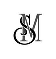 initial letters sm monogram logo vector image vector image