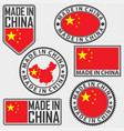 made in china label set with flag made in china vector image