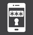mobile security solid icon security smartphone vector image vector image