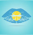 palau flag lipstick on the lips isolated on a vector image
