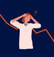 panic woman bankruptcy economic downturn vector image