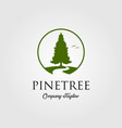 pine tree logo with river or creek vector image vector image