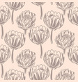 protea flower simple seamless pattern vector image vector image