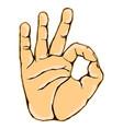 realistic okay hand gesture icon graphic vector image vector image