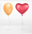 red hearts realistic flying yellow and heart vector image