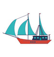 sailboat ship symbol blue lines vector image