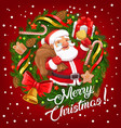 santa in christmas wreath frame with gifts bell vector image vector image