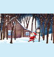 scene with santa and snowman in snowy night vector image vector image