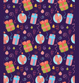 seamless christmas pattern on violet background vector image vector image