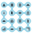 set 16 simple structure icons can be found vector image