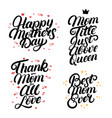 set of mothers day hand written lettering quotes vector image vector image