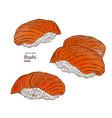 set of salmon sushi nigiri hand draw sketch vector image vector image