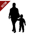 silhouette of a mother walking by the hand with vector image