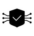 tech circuit shield icon simple minimal pictogram vector image
