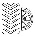 tire icon outline style vector image vector image