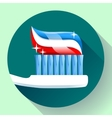 Toothbrush with toothpaste Icon flat style vector image