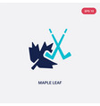 two color maple leaf icon from hockey concept vector image