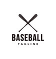 vintage baseball logo with crossed wooden bat vector image vector image