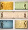 Vintage card with silhouettes vector image vector image