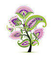 vintage magic floral tree sketch for your design vector image vector image