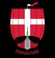 warship of the vikings - drakkar and denmark flag vector image