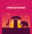 welcome to african safary banner template vector image vector image