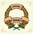 wheat badge with ribbon banner vintage vector image vector image