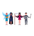 woman man wearing different costumes standing vector image vector image