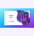 yoga day neon landing page vector image vector image