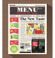 Restaurant Menu Design Template in Newspaper style vector image