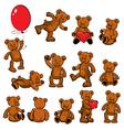 Set of vintage soft toys - teddy bears vector image