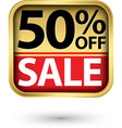50 off sale golden label with red ribbon vector image